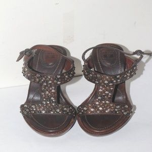 FRYE Womens Studded  Brown Leather Sandals Sz 6B